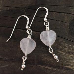 Jewelry - Rose Quartz 💗 Sterling Earrings